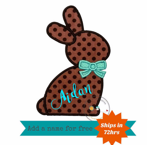Chocolate brown Easter bunny sillouette with teal bow tie fabric machine embroidered applique