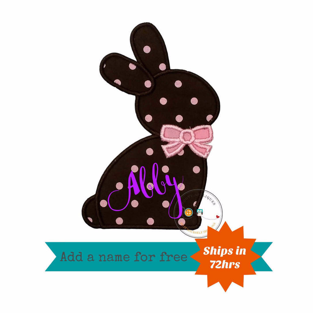 Chocolate brown Easter bunny sillouette with pink bow tie fabric machine embroidered applique