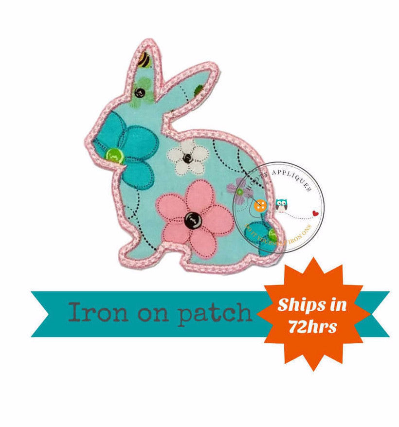 Spring color bunny sillouette iron on applique