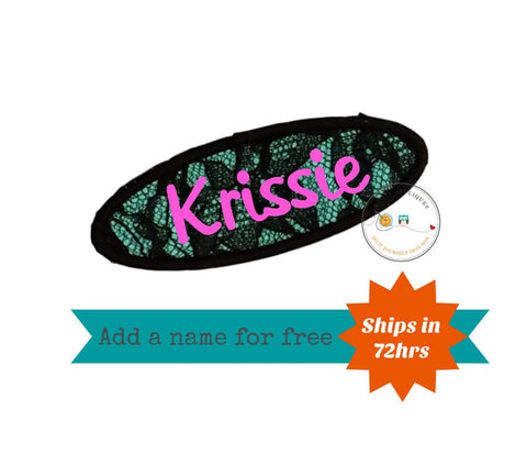 Black lace and teal oval name tag iron on applique