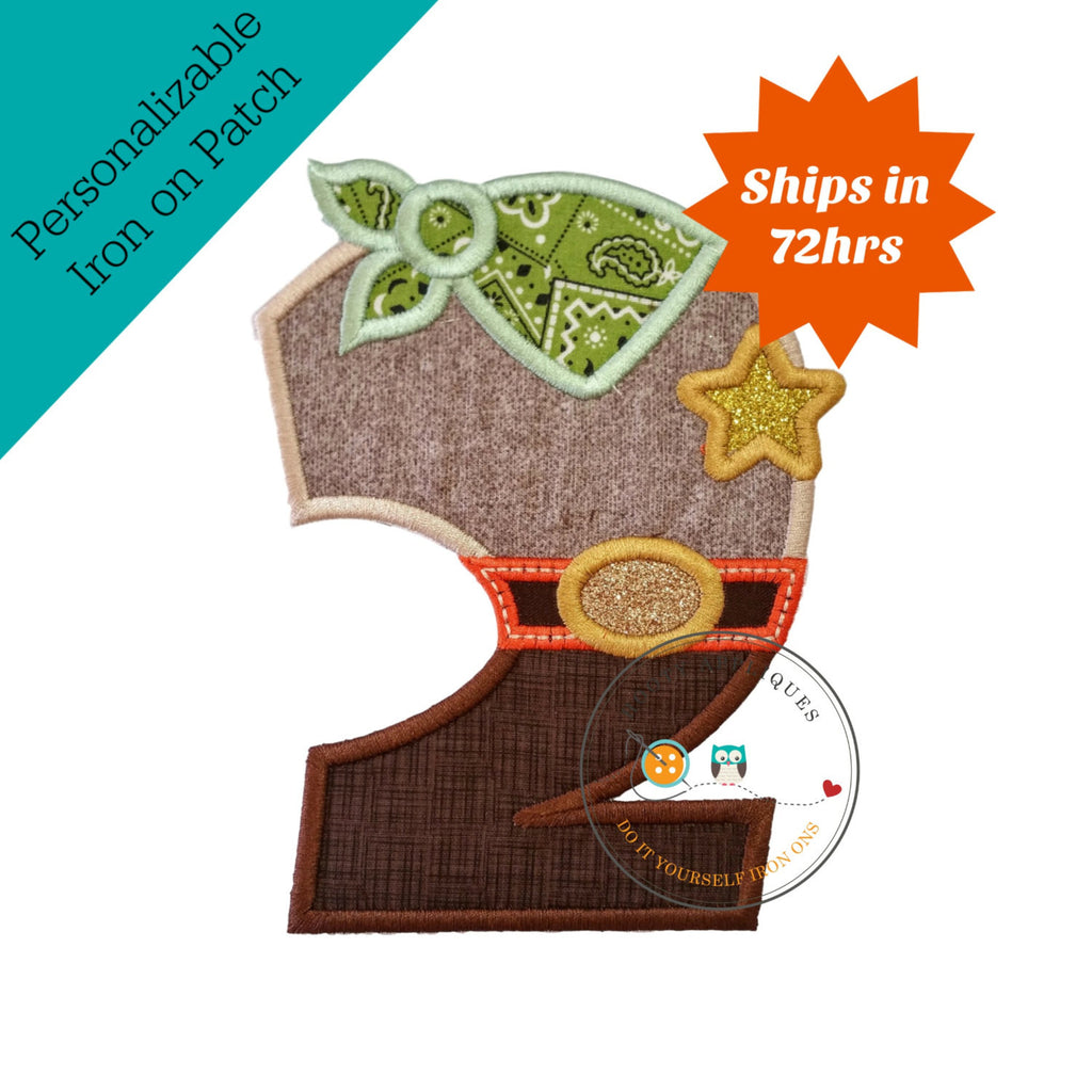 Sheriff birthday number two iron on applique