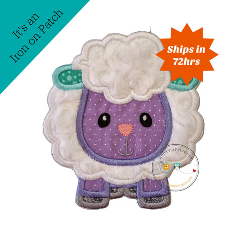 Cute plush sheep iron on patch, Easter embroidered lamb iron on patch