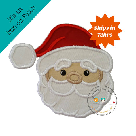 Cute Santa face - iron embroidered fabric applique patch