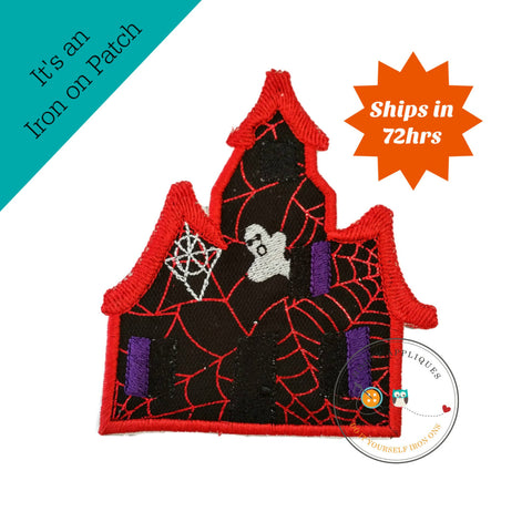 Large spooky house with red webs  - iron on patch