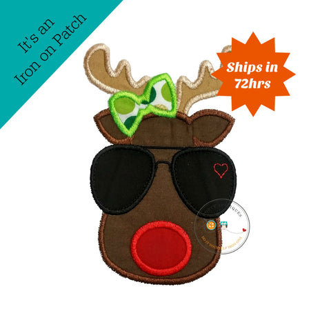 Aviator girl Christmas reindeer face with green bow