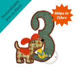 Large birthday number 3 with plaid puppy- iron embroidered fabric applique