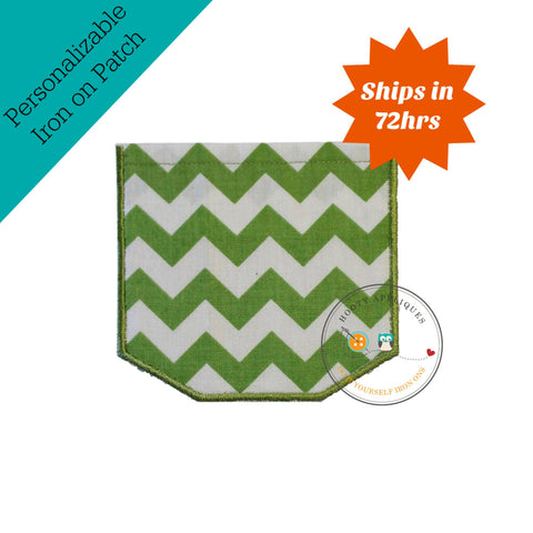 Faux pocket green chevron Iron embroidered fabric applique patch