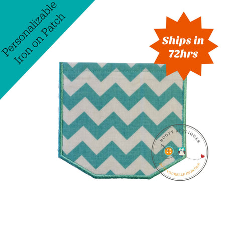 Faux pocket teal aqua chevron Iron embroidered fabric applique patch