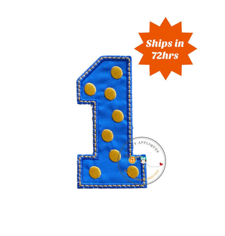 Blue block number one with embroidered gold dots, fabric iron on applique