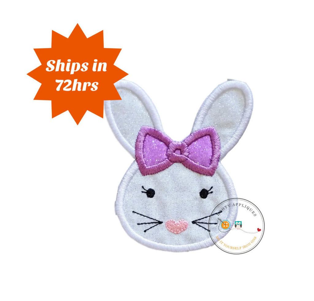 Easter bunny face with purple bow iron on for shirts