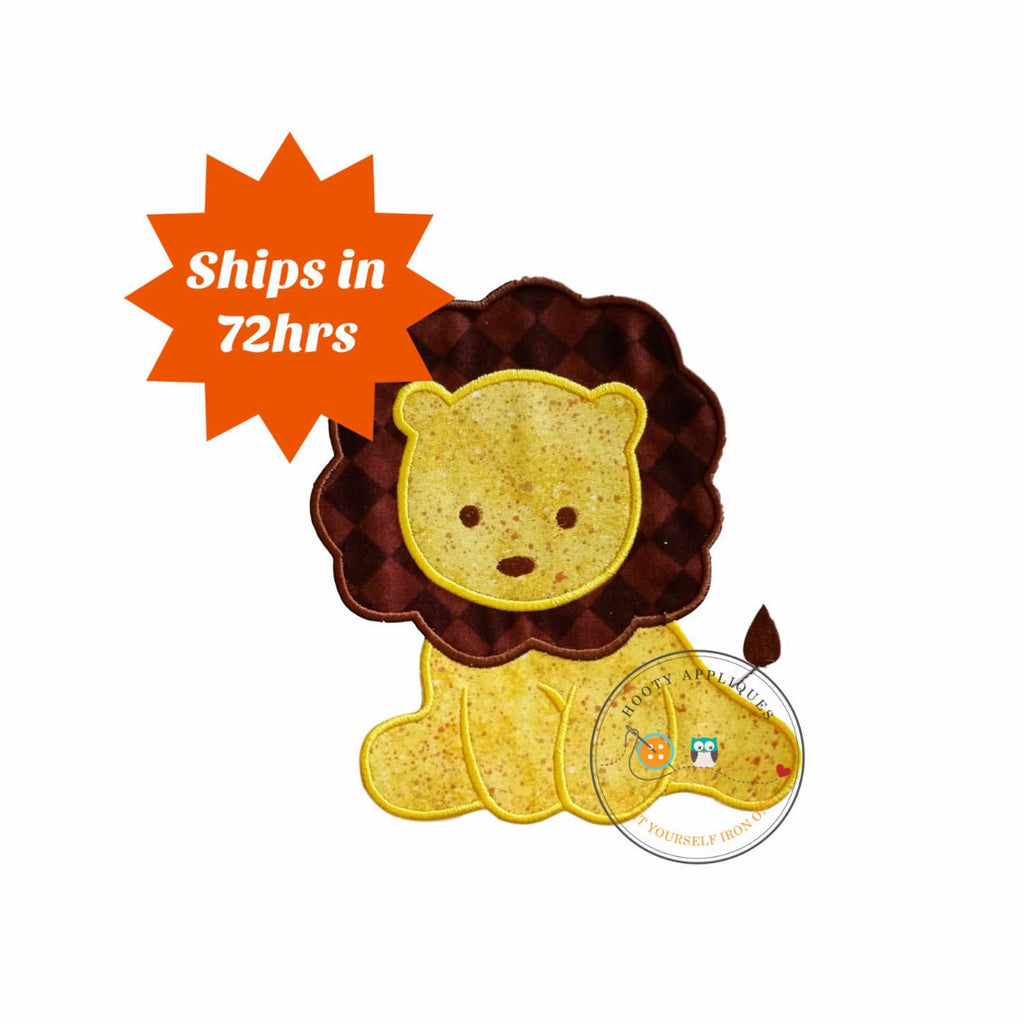 Sweet baby lion iron on applique