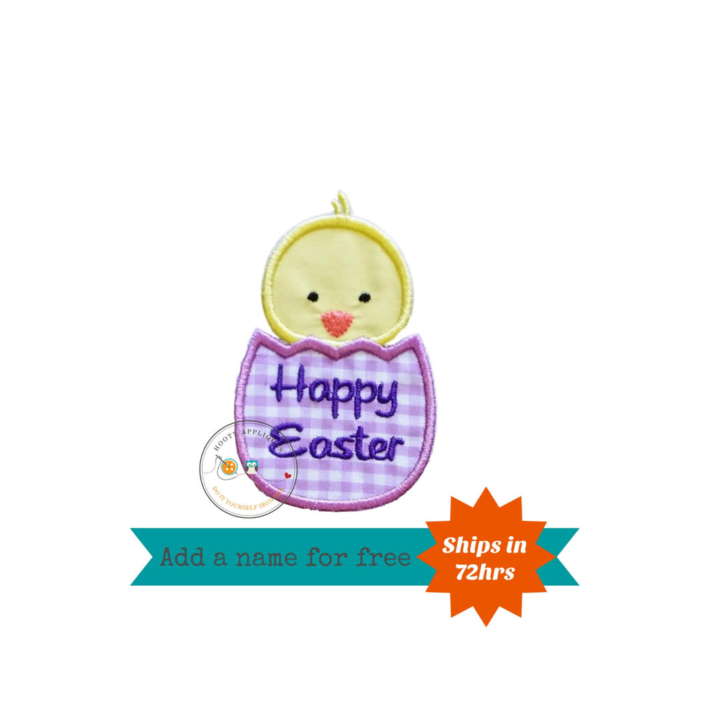 Easter baby chick in light purple gingham egg iron on applique