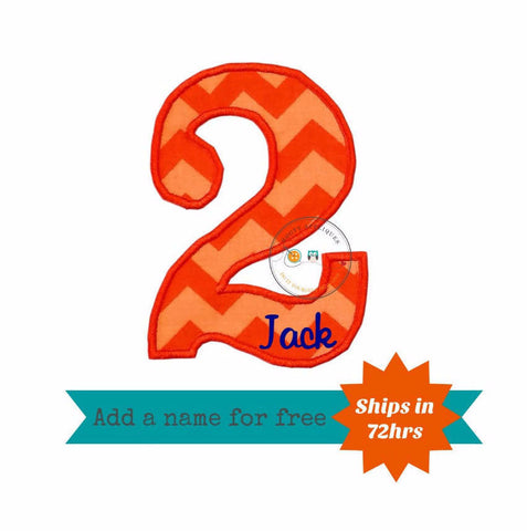 Light and dark orange chevron number two birthday number fabric machine embroidered applique