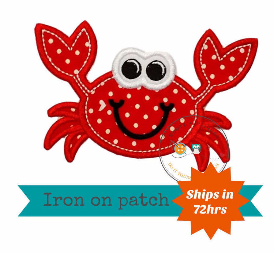 Happy Crab iron on patch