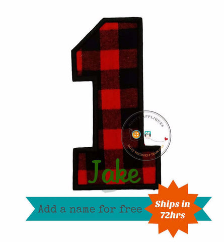 Buffalo plaid birthday number one iron on applique