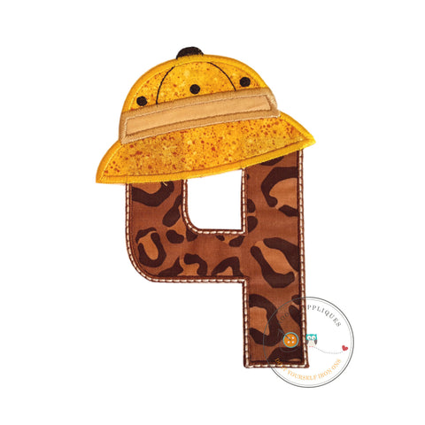 Safari birthday number four (4) in brown animal print and yellow hat patch