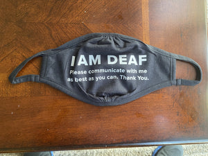I am Deaf Face Mask (Cloth Face Mask Adult Size)