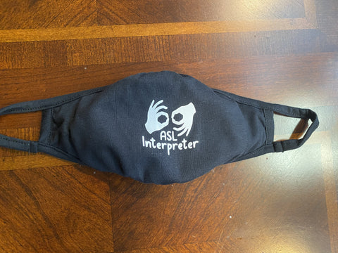 ASL Interpreter (Cloth Face Mask Adult Size) Logo Center