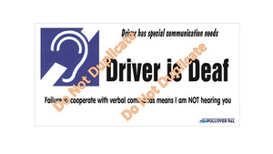Driver is Deaf Card / I am Deaf Card (Card Only)
