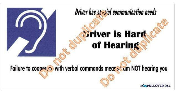 Driver is Hard of Hearing Card