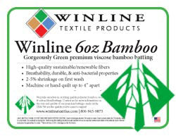 "Winline 100% Bamboo Quilt Batting 6 oz. 120"" wide"