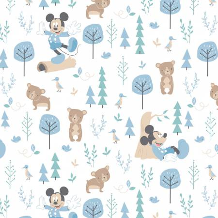Blue Disney Little Bear on Double Gauze