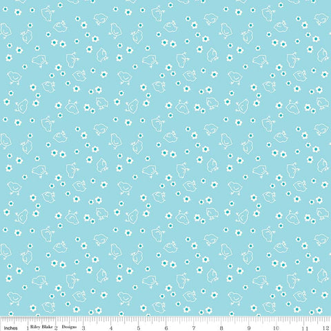 Bee Basic- Aqua Chick Backing by Lori Holt  (WB6423R-Aqua)