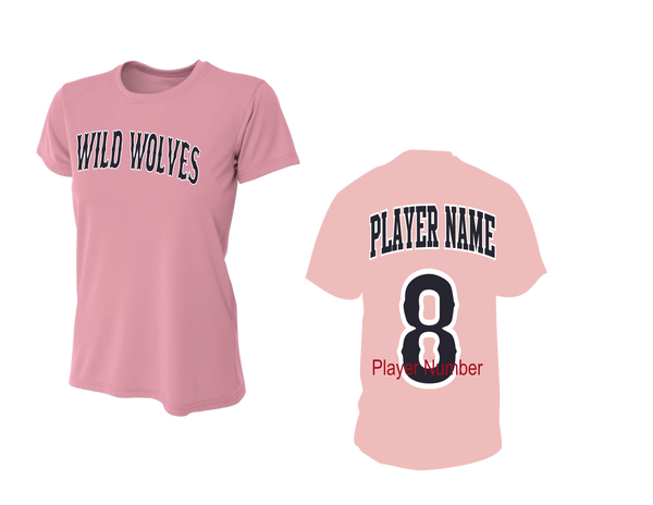 Wild Wolves Women's Performance Crew w/ Players Name & Number