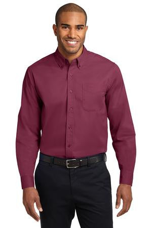 Long Sleeve Easy Care Shirt -Contrast Collar- (XXL-6XL)