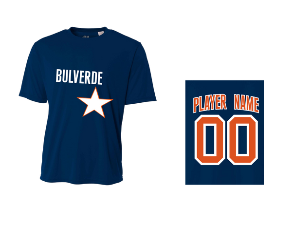 BLL Astro Men's Performance Crew Tee w/ Player Name & Number
