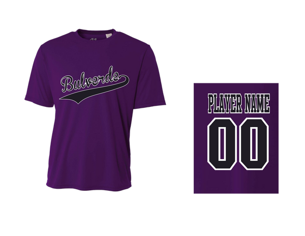 Team Purple Men's Performance Crew Tee w / Player Name & Number