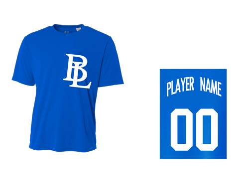 BLL Royal Men's Performance Crew Tee w/ Player Name & Number