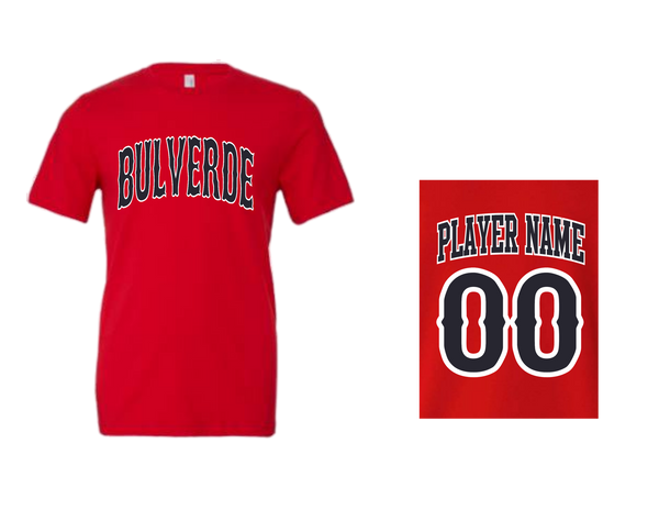BLL Red Sox Men's Performance Crew Tee w/ Player Name and Number