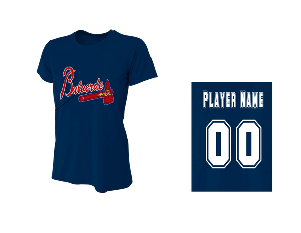 BLL Brave Women's Performance Crew Tee w/ Player Name & Number