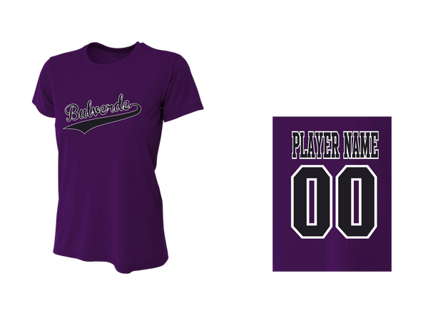 Team Purple Women's Performance Crew Tee w/ Player Name & Number