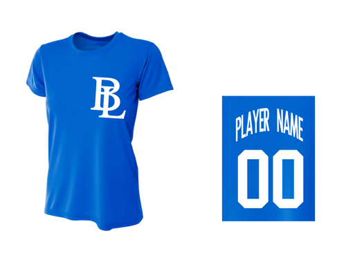 BLL Royal Women's Performance Crew Tee w/ Player Name & Number