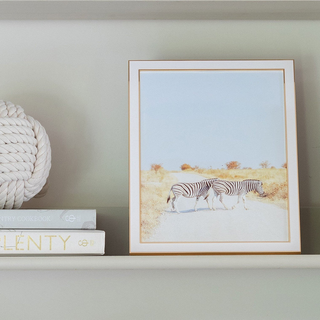 White and Gold Enamel Frame  - Available in 3 Sizes