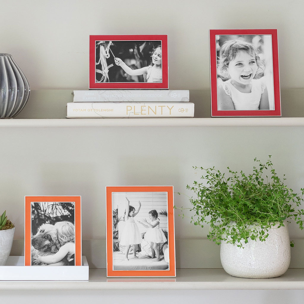 Orange Enamel and Silver Frame  - Available in 2 Sizes