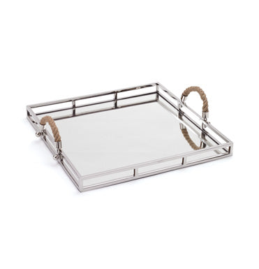Polished Nickel Square Tray with Rope Handles