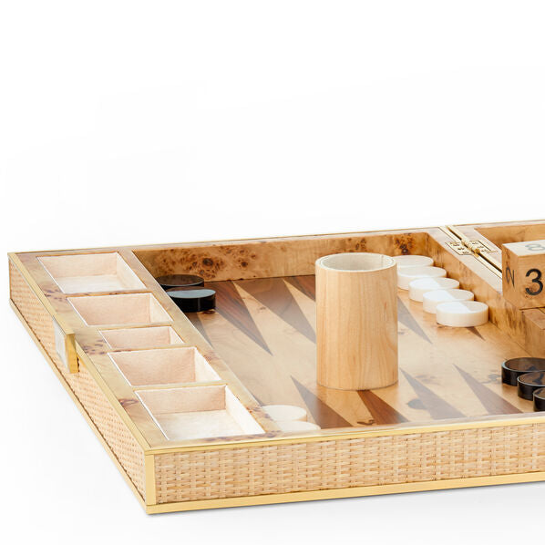 Aerin Wood & Cane Backgammon Set