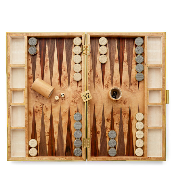 Aerin Wood & Croc Leather Backgammon Set