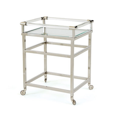Polished Nickel and Glass Bar Cart