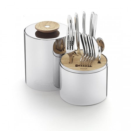 CHRISTOFLE 24 PIECE S/S FLATWARE SET W/ STORAGE CAPSULE