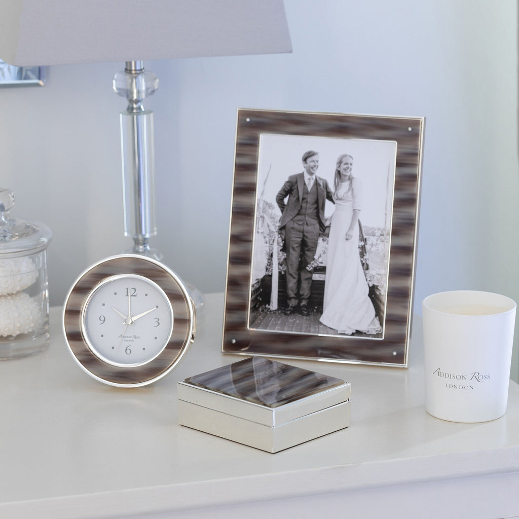 Faux Grey Horn & Silver Frame  - Available in 2 Sizes
