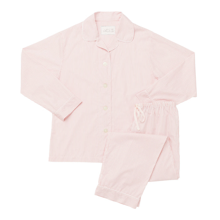 Red Simple Stripe Luxe Pima Pajama Set