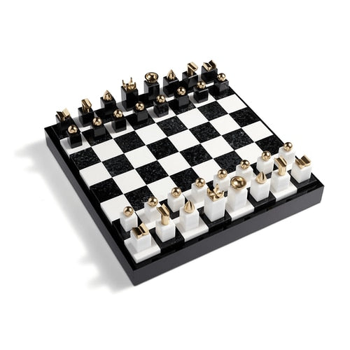 Black and White Marble Chess Set