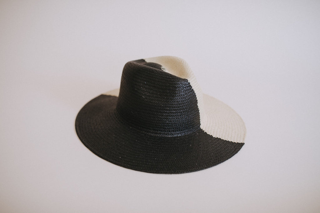 Freya Shadow Black & Natural Straw Hat