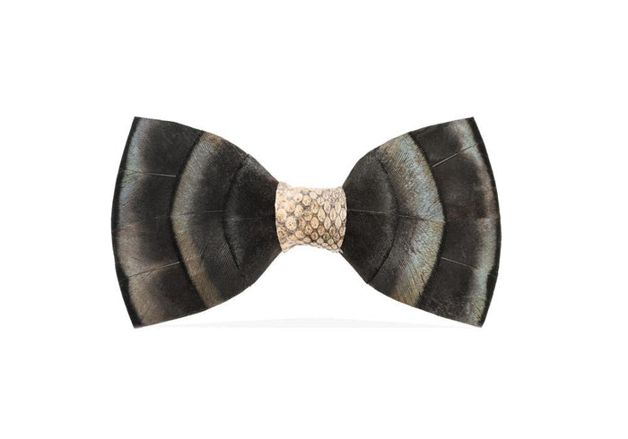 FEATHER BOW TIES BLUE SLATE WITH SNAKESKIN