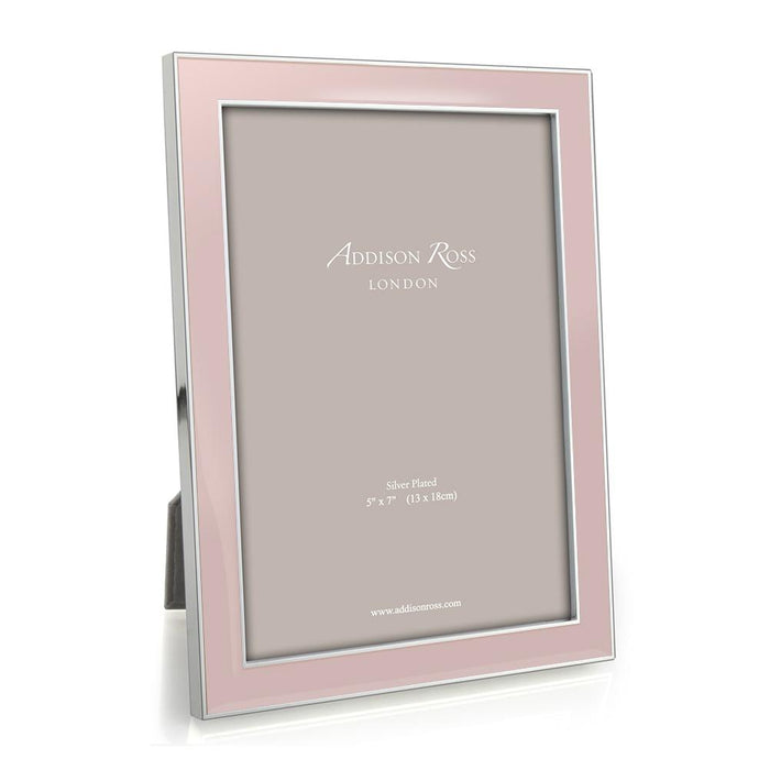 Light Pink Enamel and Silver Frame  - Available in 2 Sizes