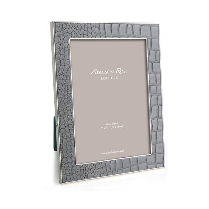 Dove Grey Croc & Silver Frame - Available in 2 Sizes